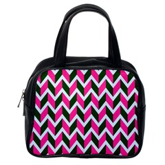 Chevron Pink Green Retro Classic Handbags (one Side)