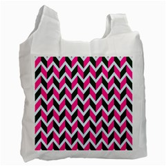 Chevron Pink Green Retro Recycle Bag (one Side)