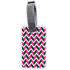 Chevron Pink Green Retro Luggage Tags (one Side)