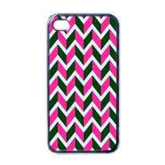 Chevron Pink Green Retro Apple Iphone 4 Case (black)