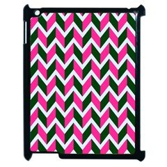 Chevron Pink Green Retro Apple Ipad 2 Case (black)
