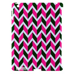 Chevron Pink Green Retro Apple Ipad 3/4 Hardshell Case (compatible With Smart Cover)