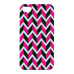 Chevron Pink Green Retro Apple Iphone 4/4s Premium Hardshell Case
