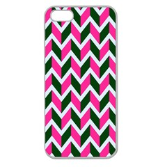 Chevron Pink Green Retro Apple Seamless Iphone 5 Case (clear)