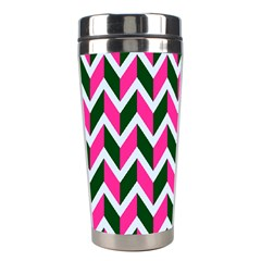 Chevron Pink Green Retro Stainless Steel Travel Tumblers