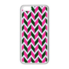 Chevron Pink Green Retro Apple Iphone 5c Seamless Case (white)