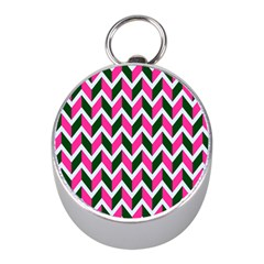 Chevron Pink Green Retro Mini Silver Compasses