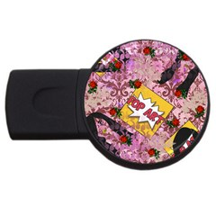 Red Retro Pop Usb Flash Drive Round (2 Gb)