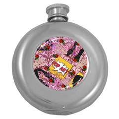 Red Retro Pop Round Hip Flask (5 Oz)