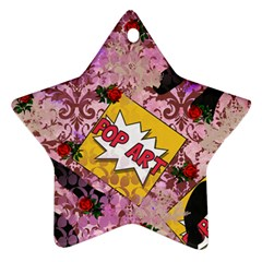Red Retro Pop Star Ornament (two Sides)