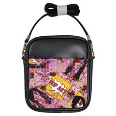 Red Retro Pop Girls Sling Bags