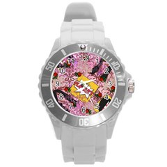 Red Retro Pop Round Plastic Sport Watch (l)