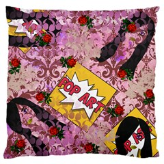 Red Retro Pop Large Flano Cushion Case (one Side)