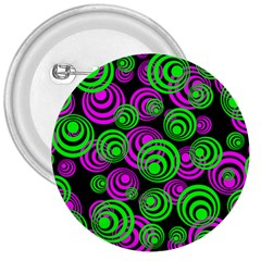 Neon Green And Pink Circles 3  Buttons