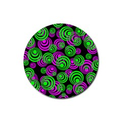 Neon Green And Pink Circles Rubber Round Coaster (4 Pack)