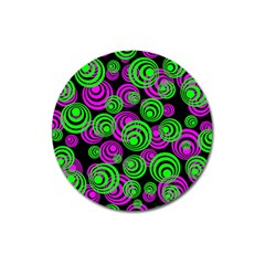 Neon Green And Pink Circles Magnet 3  (round)