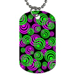Neon Green And Pink Circles Dog Tag (one Side)
