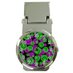 Neon Green And Pink Circles Money Clip Watches