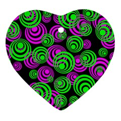 Neon Green And Pink Circles Heart Ornament (two Sides)