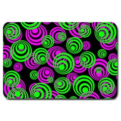 Neon Green And Pink Circles Large Doormat