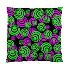Neon Green And Pink Circles Standard Cushion Case (two Sides)