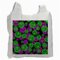 Neon Green And Pink Circles Recycle Bag (two Side)