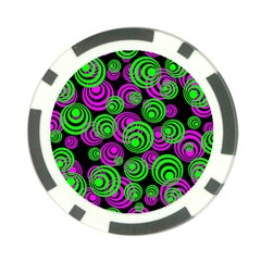 Neon Green And Pink Circles Poker Chip Card Guard (10 Pack)