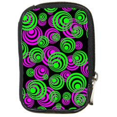 Neon Green And Pink Circles Compact Camera Cases