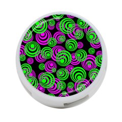 Neon Green And Pink Circles 4 Port Usb Hub (two Sides)