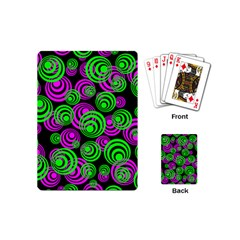 Neon Green And Pink Circles Playing Cards (mini)