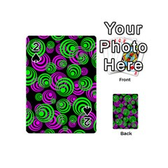 Neon Green And Pink Circles Playing Cards 54 (mini)