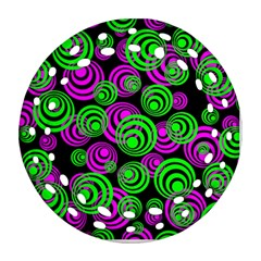 Neon Green And Pink Circles Round Filigree Ornament (two Sides)