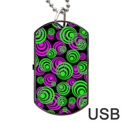 Neon Green And Pink Circles Dog Tag Usb Flash (two Sides)