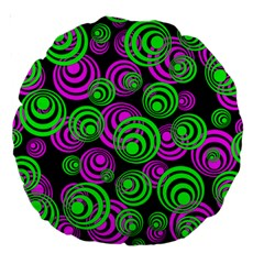 Neon Green And Pink Circles Large 18  Premium Round Cushions