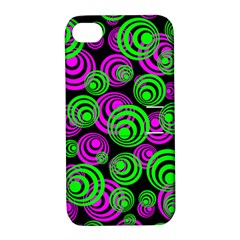 Neon Green And Pink Circles Apple Iphone 4/4s Hardshell Case With Stand