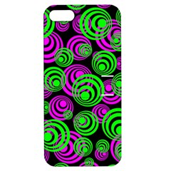 Neon Green And Pink Circles Apple Iphone 5 Hardshell Case With Stand