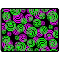 Neon Green And Pink Circles Double Sided Fleece Blanket (large)