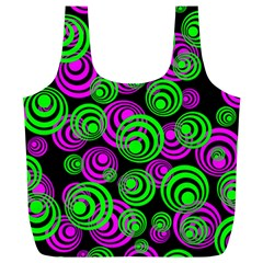 Neon Green And Pink Circles Full Print Recycle Bags (l)