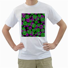 Neon Green And Pink Circles Men s T Shirt (white)