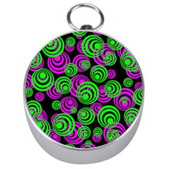 Neon Green And Pink Circles Silver Compasses