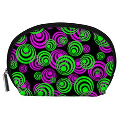 Neon Green And Pink Circles Accessory Pouches (large)