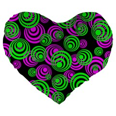 Neon Green And Pink Circles Large 19  Premium Flano Heart Shape Cushions