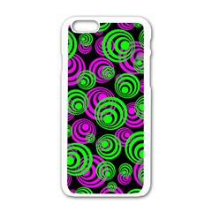 Neon Green And Pink Circles Apple Iphone 6/6s White Enamel Case