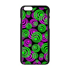 Neon Green And Pink Circles Apple Iphone 6/6s Black Enamel Case