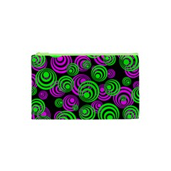 Neon Green And Pink Circles Cosmetic Bag (xs)
