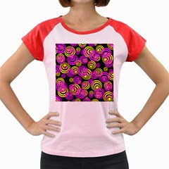Neon Yellow And Hot Pink Circles Women s Cap Sleeve T Shirt