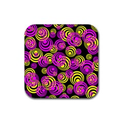 Neon Yellow And Hot Pink Circles Rubber Coaster (square)