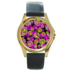 Neon Yellow And Hot Pink Circles Round Gold Metal Watch