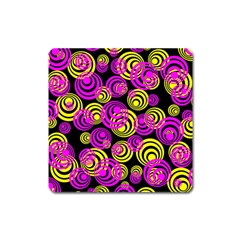 Neon Yellow And Hot Pink Circles Square Magnet