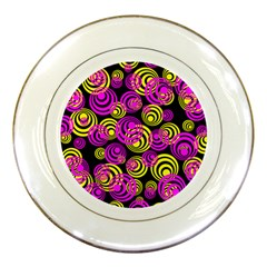 Neon Yellow And Hot Pink Circles Porcelain Plates